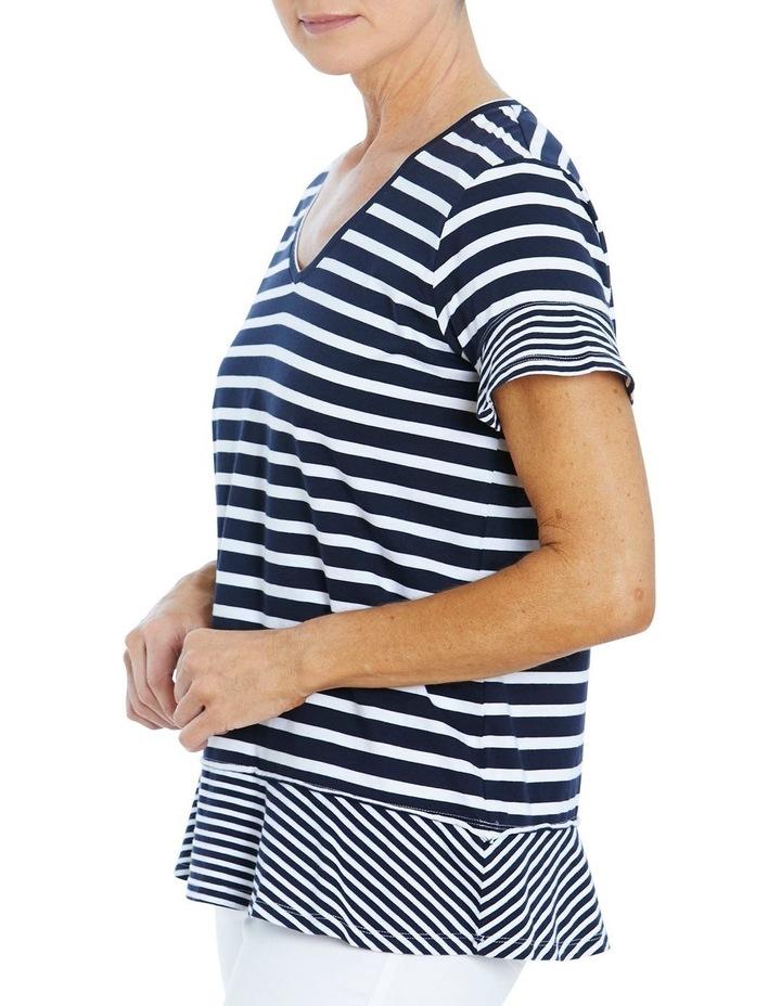 Stripe Ruffle Tee Navy/White image 2