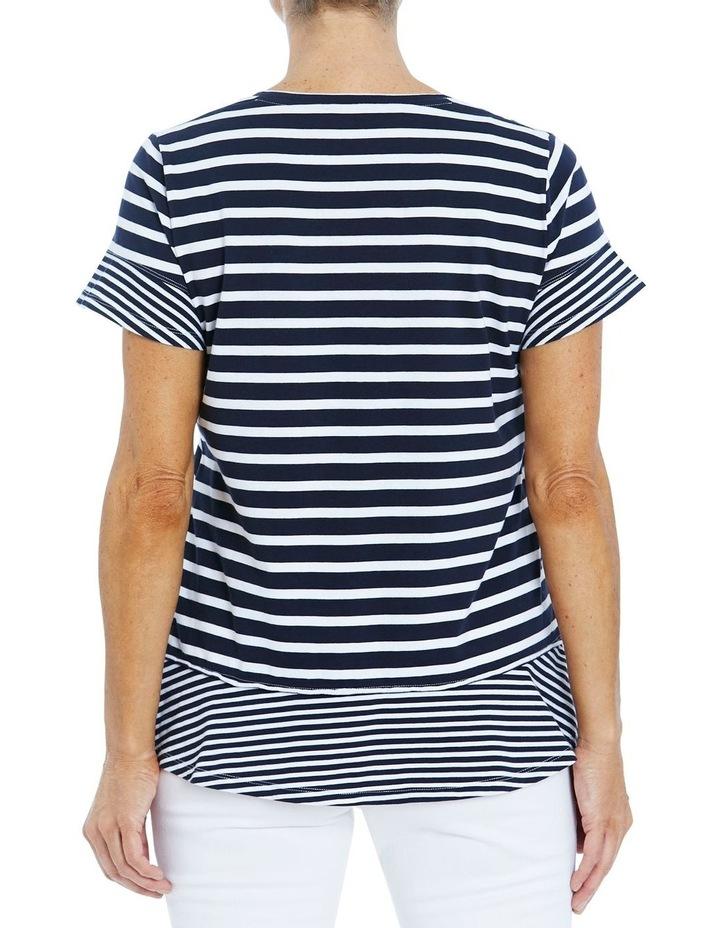 Stripe Ruffle Tee Navy/White image 3