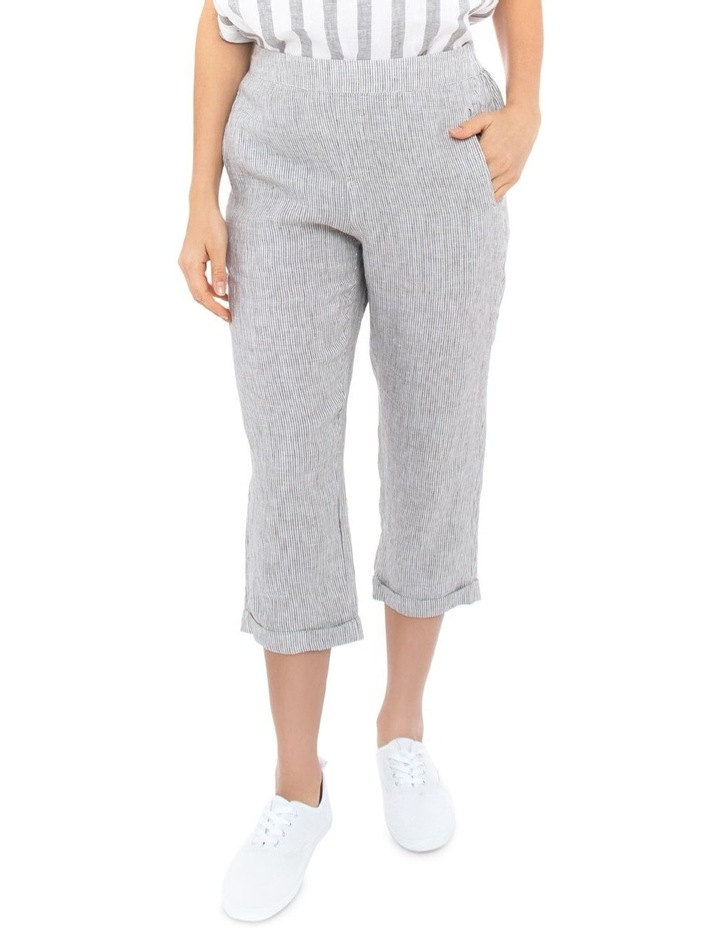 3/4 Stripe Linen Pant image 1
