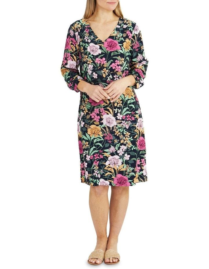 Navy Spring Floral Print Midi Dress image 1