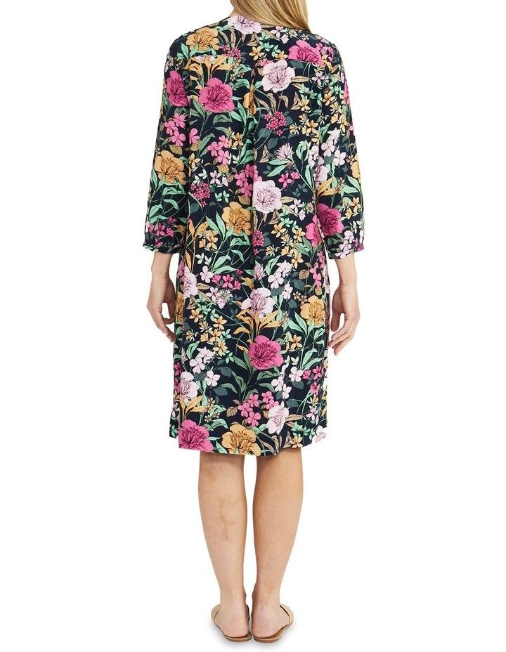 Navy Spring Floral Print Midi Dress image 2