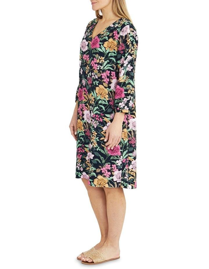 Navy Spring Floral Print Midi Dress image 3