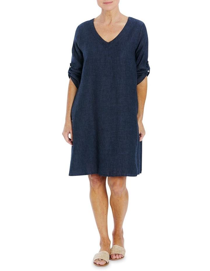 V-Neck Linen Dress image 1