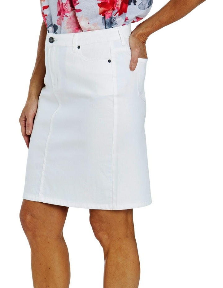 Denim Skirt White image 3