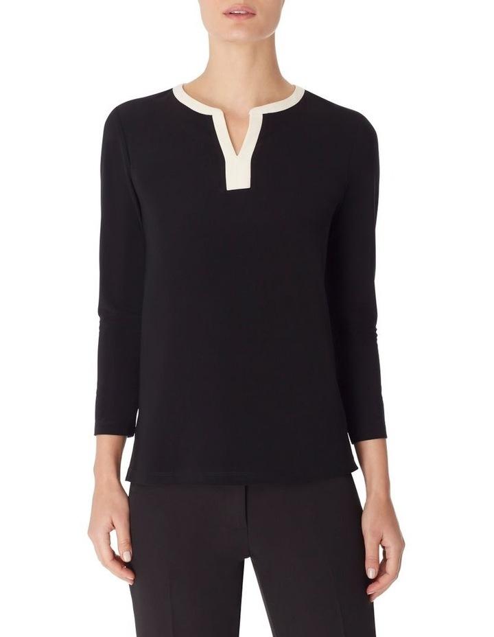 Colorblocked 3/4 Sleeve Knit Tunic Blouse image 1