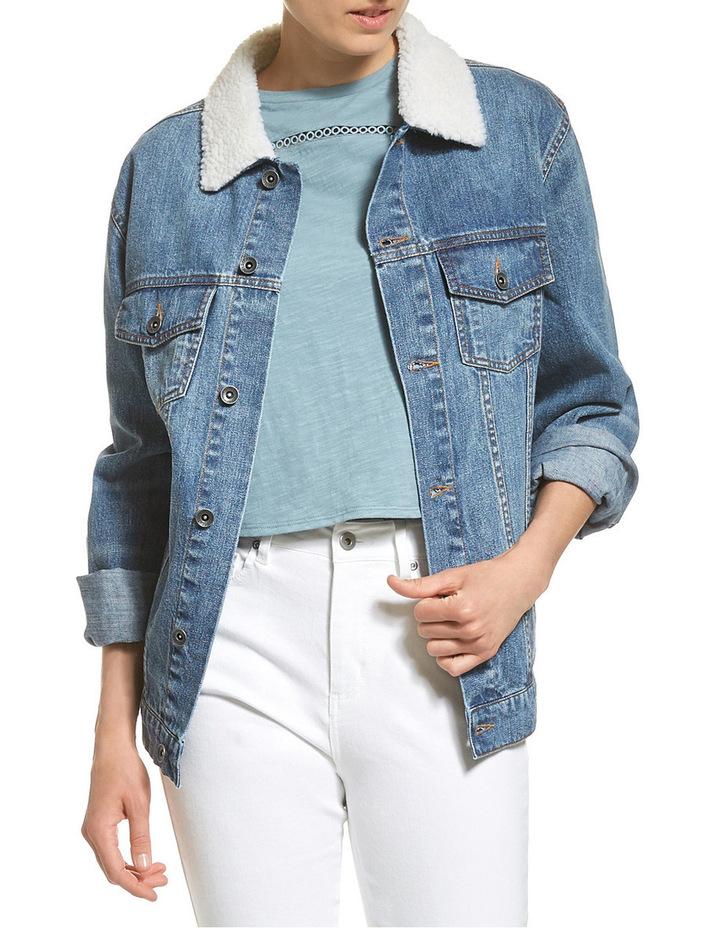 Carly Denim Shearling Jacket image 1