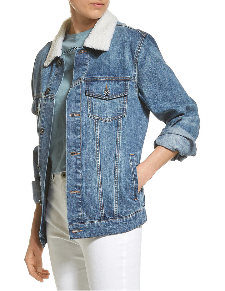 Carly Denim Shearling Jacket image 2