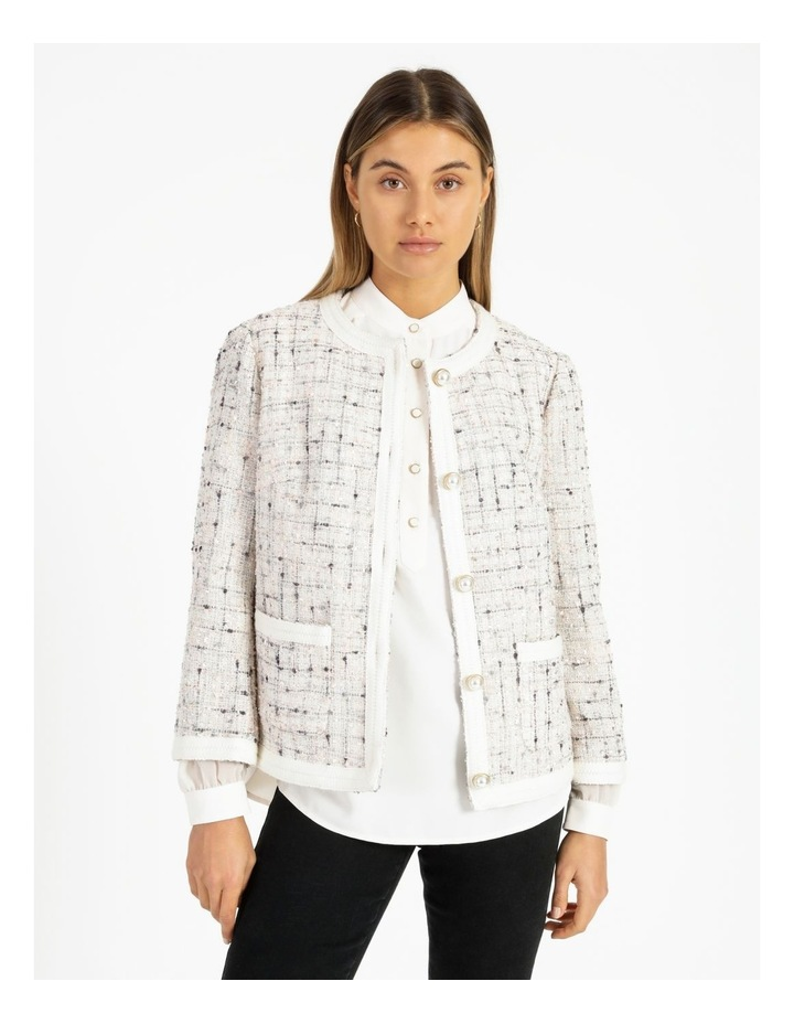 Space Dyed Tweed Collarless Jacket With Cotton Tape Trim image 1