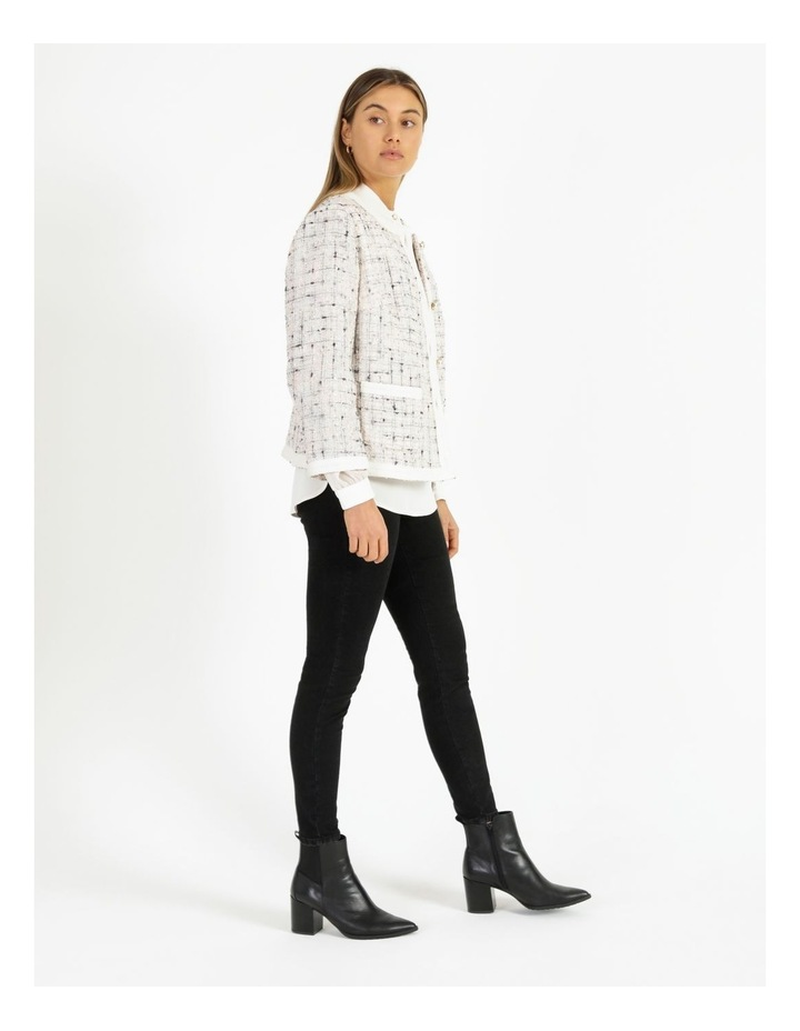 Space Dyed Tweed Collarless Jacket With Cotton Tape Trim image 2