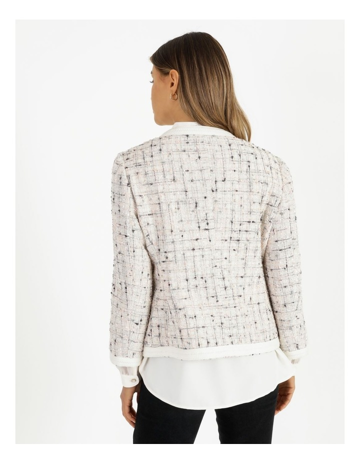 Space Dyed Tweed Collarless Jacket With Cotton Tape Trim image 3