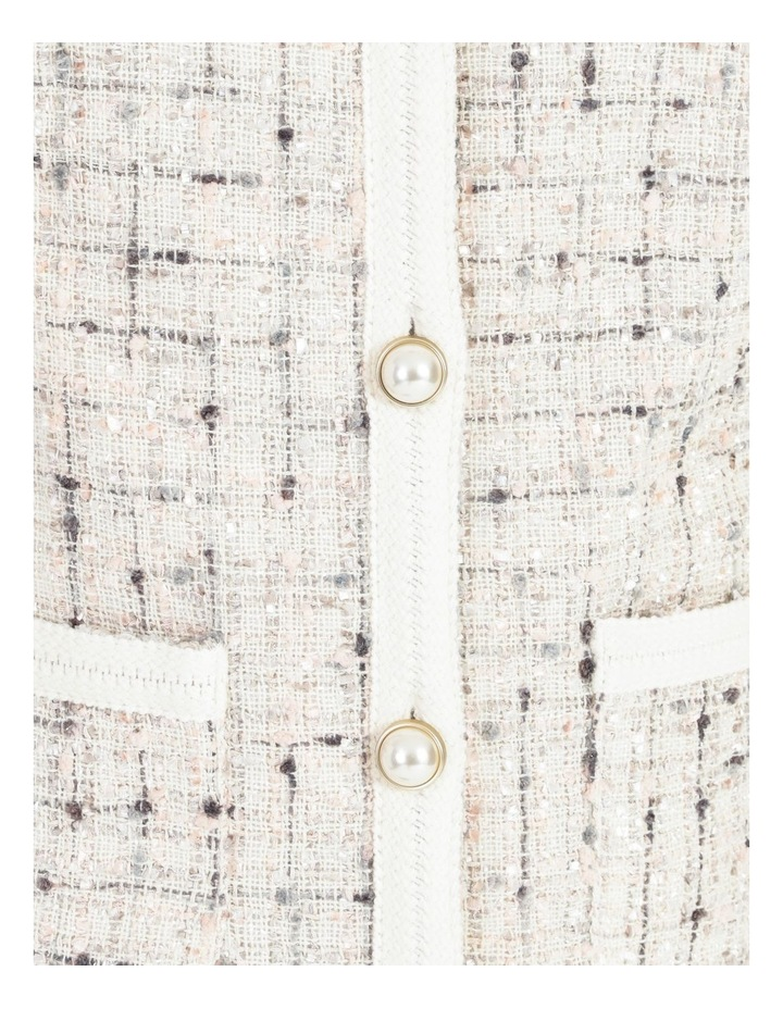 Space Dyed Tweed Collarless Jacket With Cotton Tape Trim image 5