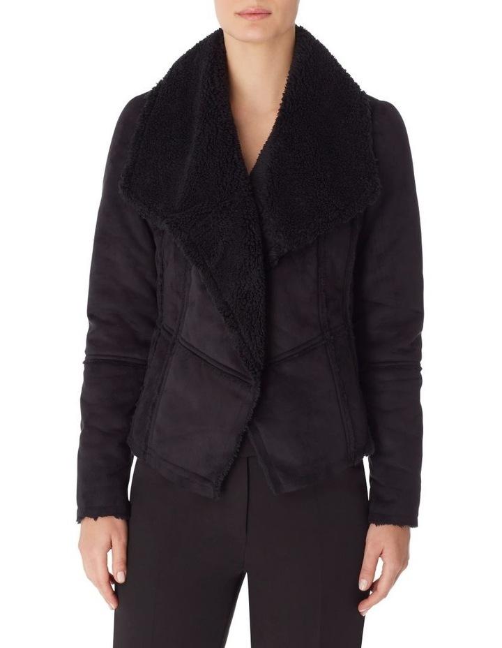 Faux Shearling Drape Front Jacket image 1