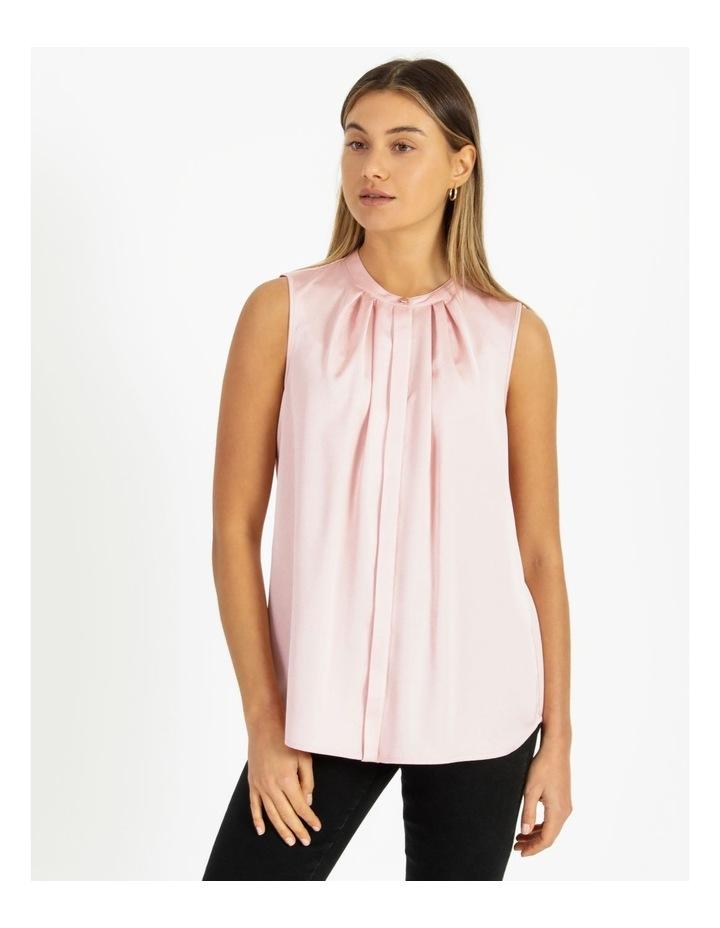 Satin Sleeveless Mandarin Collar Front Pleat Neck Blouse image 1