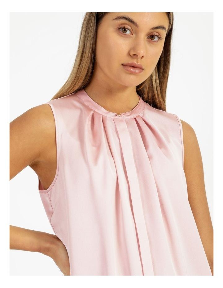 Satin Sleeveless Mandarin Collar Front Pleat Neck Blouse image 4