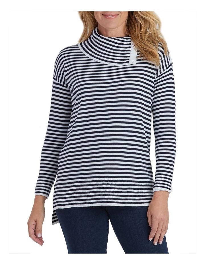Long Sleeve Stripe Knit Button Neck Jumper image 1