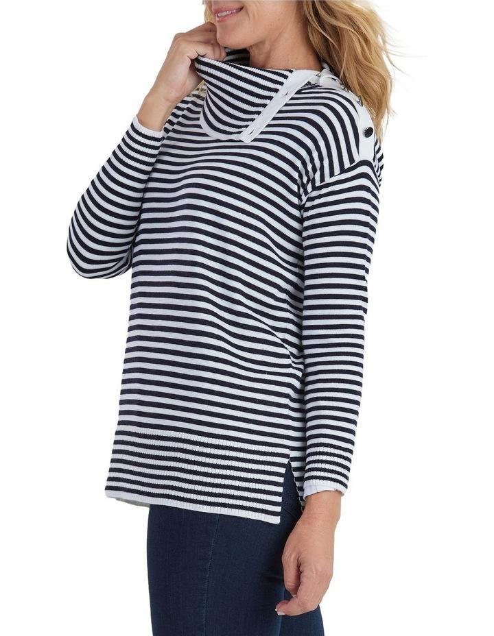 Long Sleeve Stripe Knit Button Neck Jumper image 2