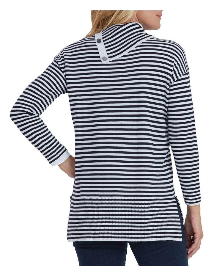 Long Sleeve Stripe Knit Button Neck Jumper image 3