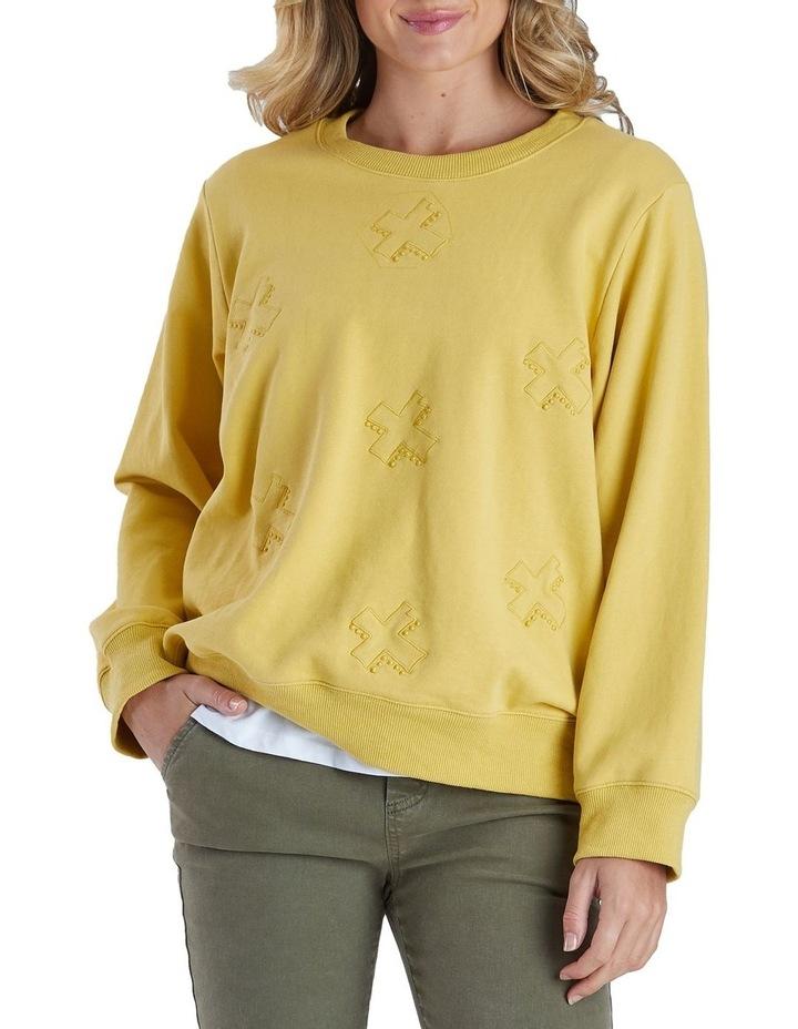Long Sleeve Cross Embroidered Sweatshirt image 1