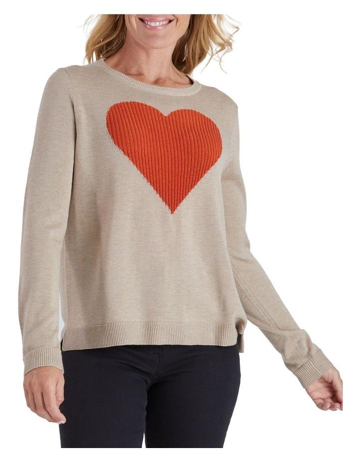 Long Sleeve Heart Knit Jumper image 1