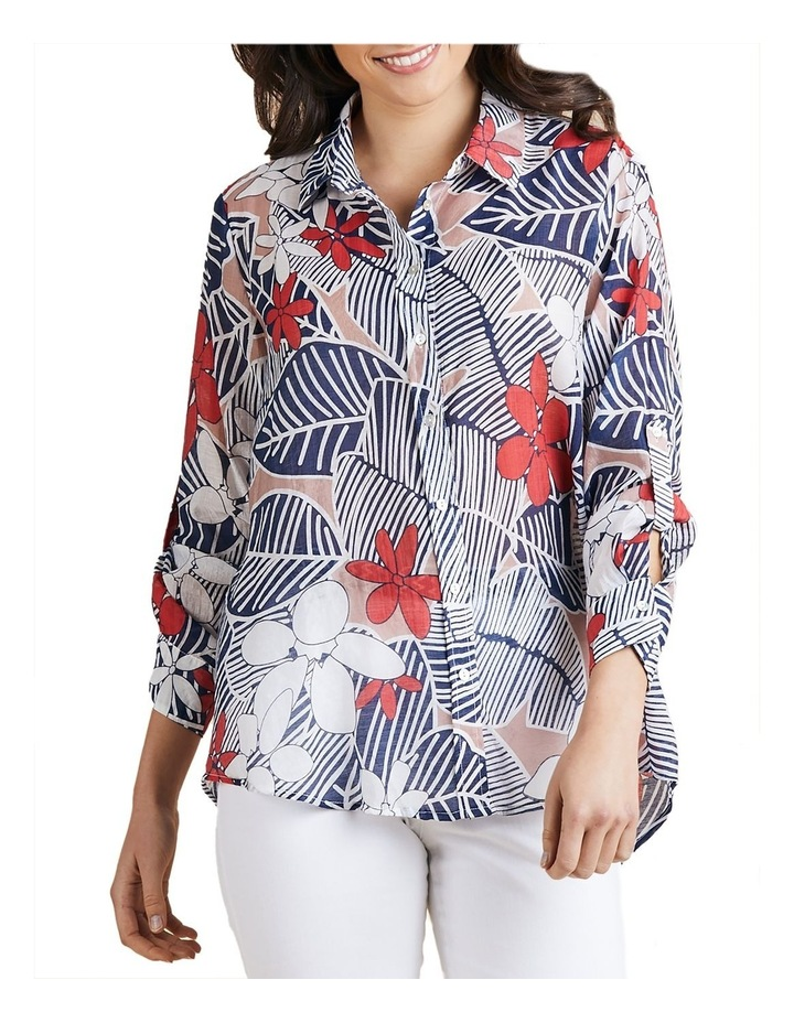 Floral Print Tab Sleeve Shirt image 1