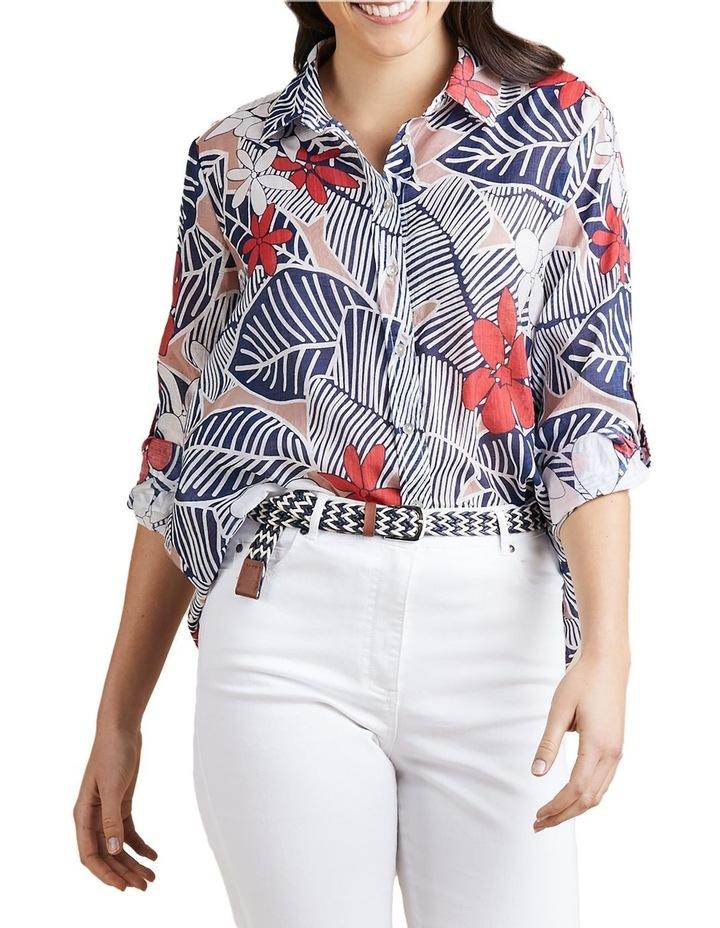 Floral Print Tab Sleeve Shirt image 4
