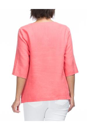 Gordon Smith - 3/4 Sleeve Linen Tunic Top