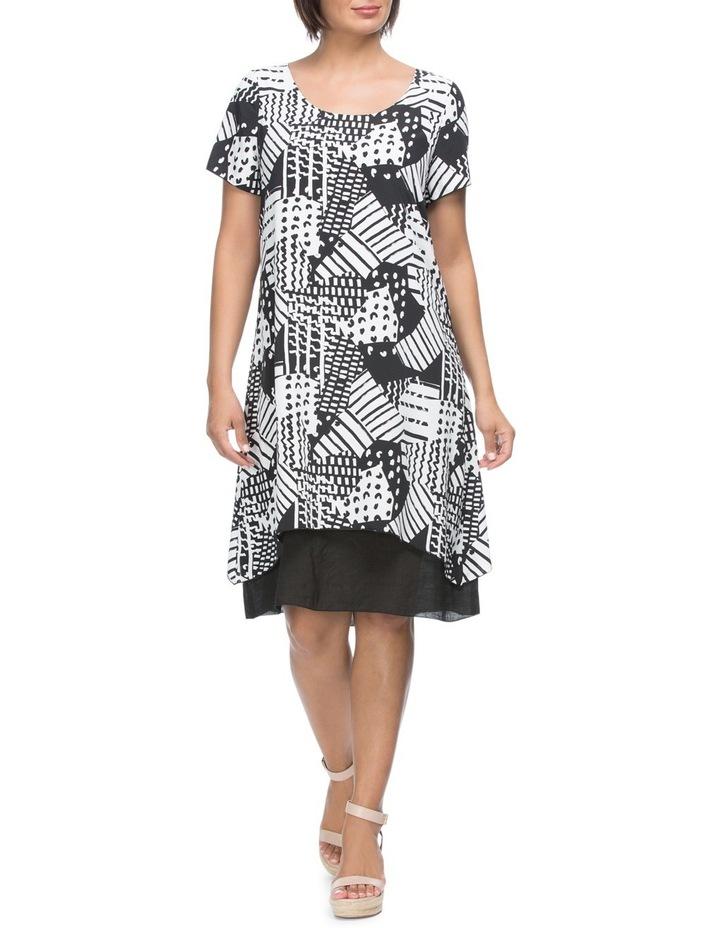 Short Sleeve Print Overlay Dress image 1