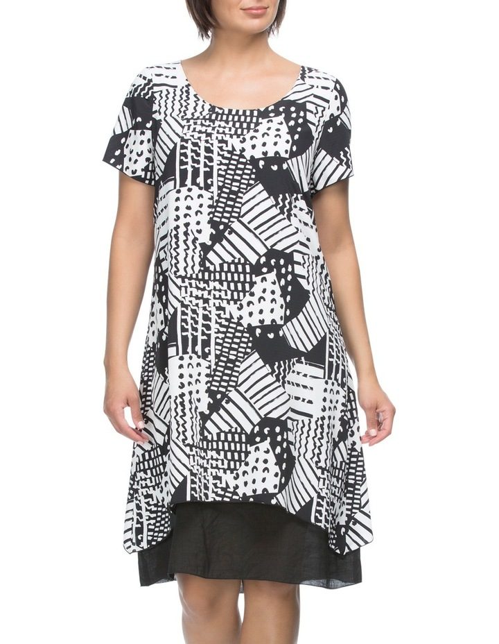 Short Sleeve Print Overlay Dress image 2