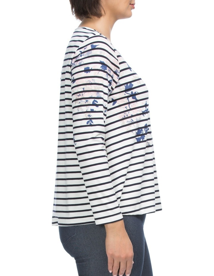 Long sleeve Stripe & Floral Print Top image 3