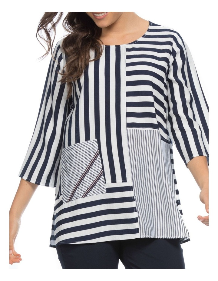 Multi Stripe Spliced Tunic Top image 1