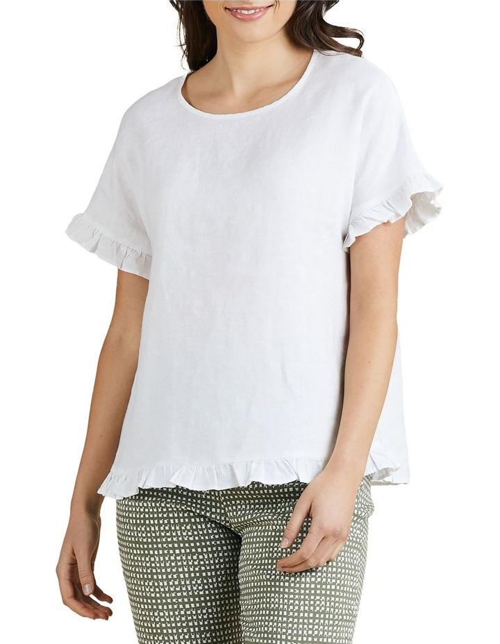 Linen Frill Trim Top White image 1