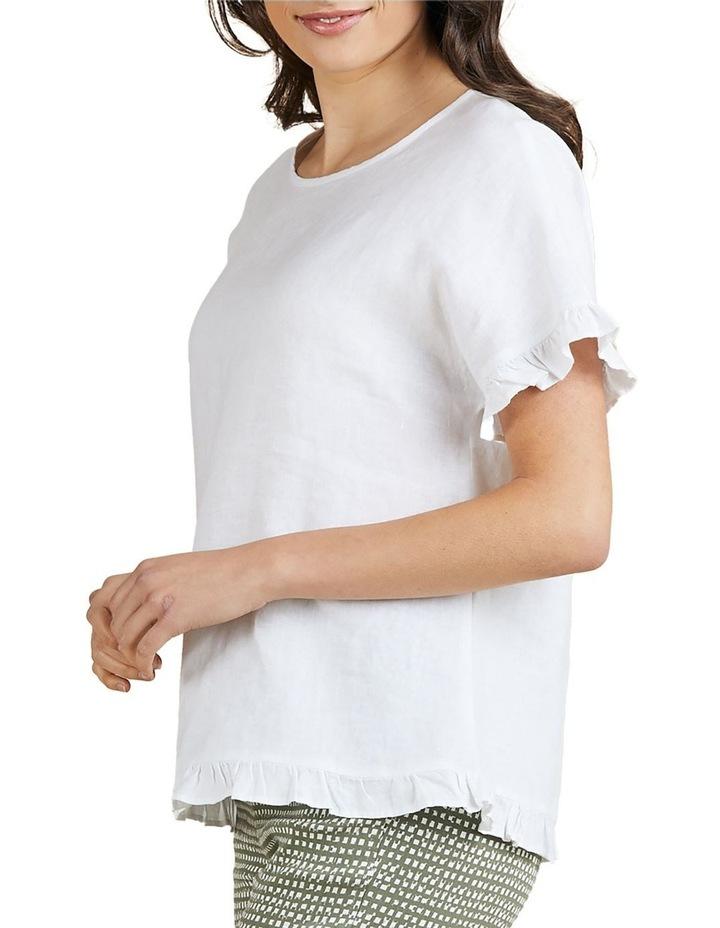 Linen Frill Trim Top White image 2