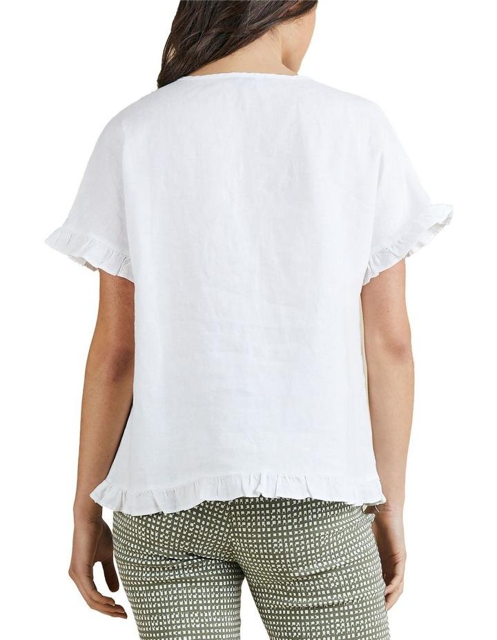 Linen Frill Trim Top White image 3
