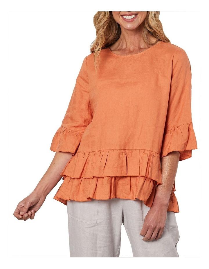 Frilled Hem Linen Top Orange image 1