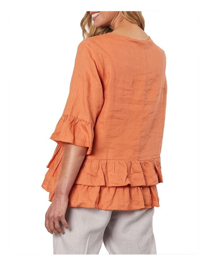 Frilled Hem Linen Top Orange image 2