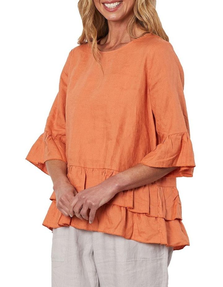 Frilled Hem Linen Top Orange image 3