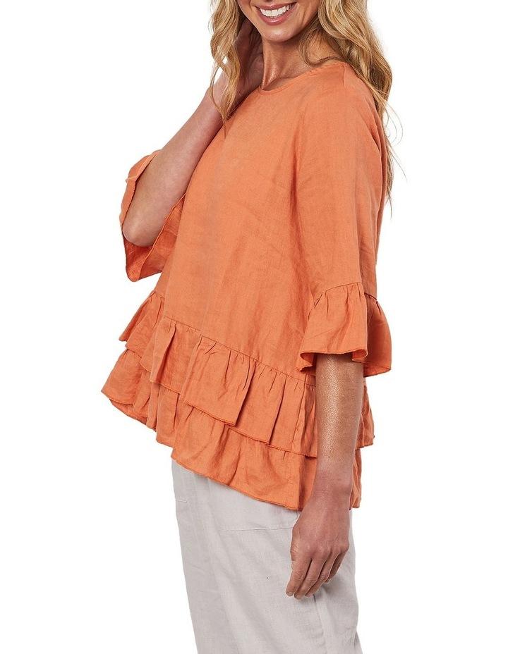 Frilled Hem Linen Top Orange image 4