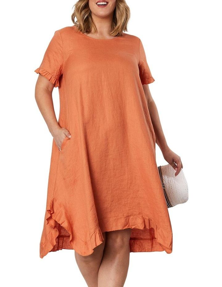 Frilled Hem Linen Dress image 1