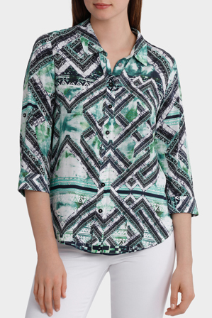 Yarra Trail - 3/4 Tab Sleeve Matrix Print Shirt