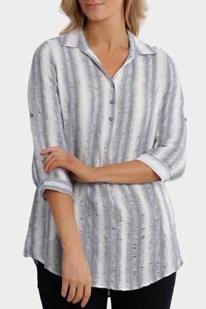 Yarra Trail - 3/4 Tab Sleeve Stripe Linen Shirt