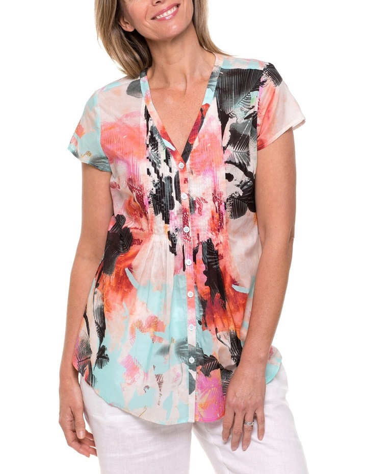 Cap Sleeve Palm Print Shirt image 1