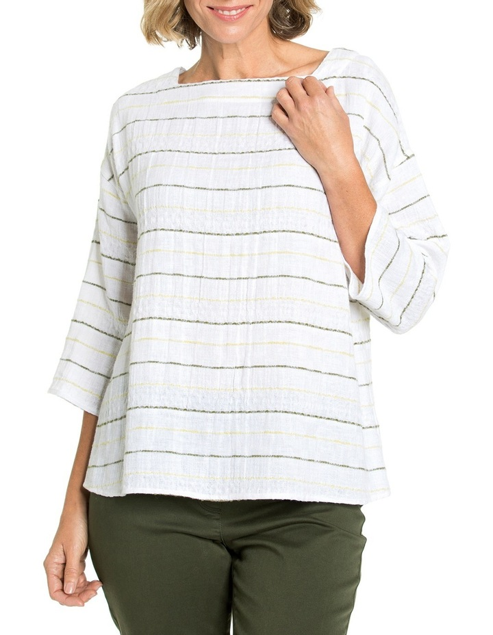 3/4 Sleeve Textured Stripe Top image 1