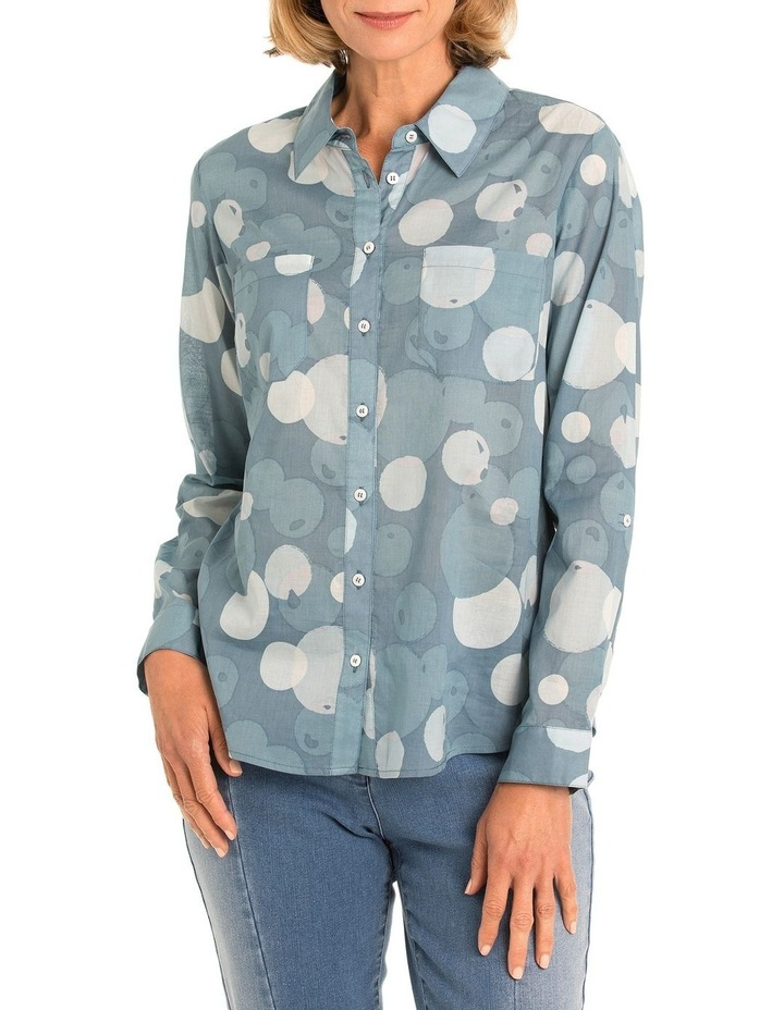3/4 Tab Slv Bubble Print Shirt image 1