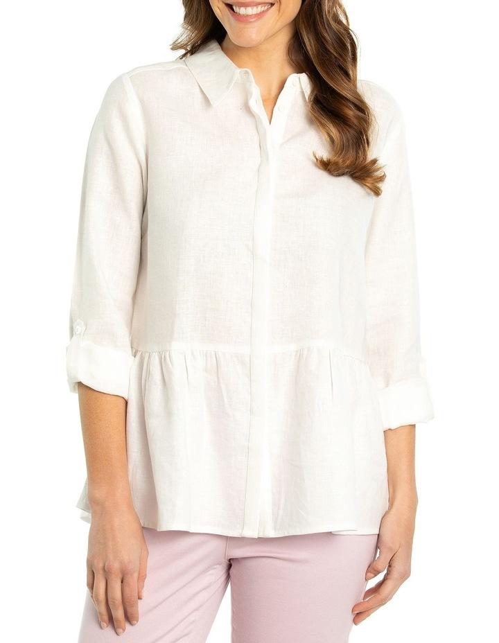 Tab Sleeve Peplum Hem Shirt image 1