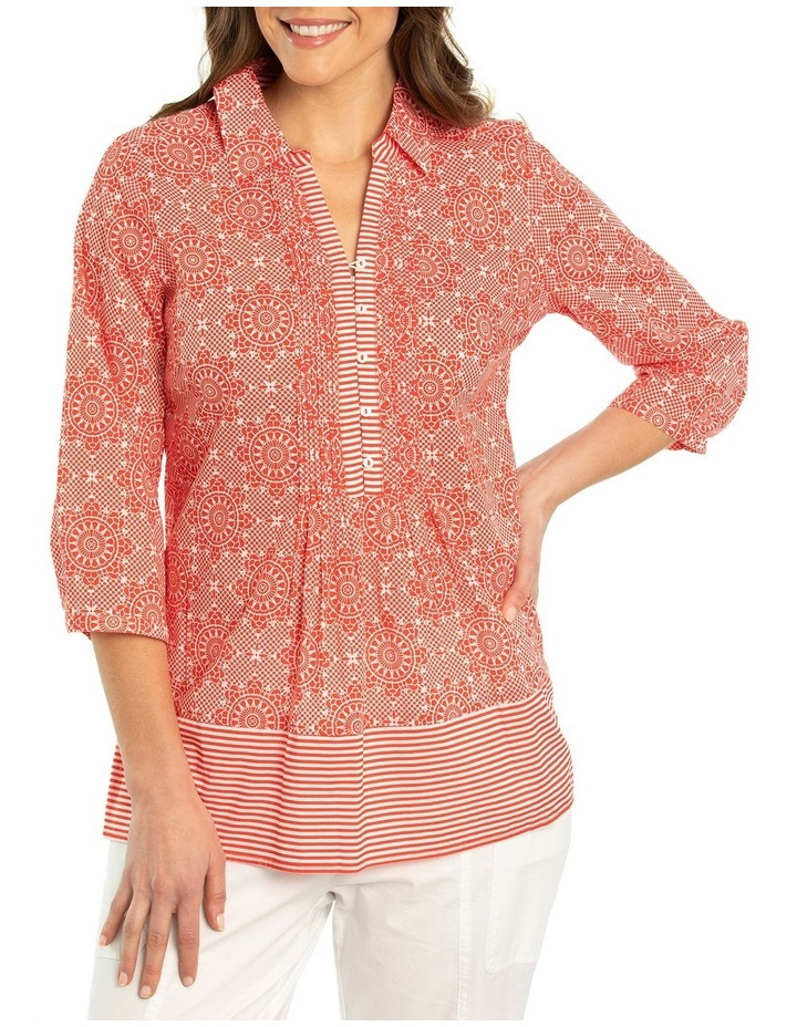 3/4 Sleeve Pintuck Print Shirt image 1