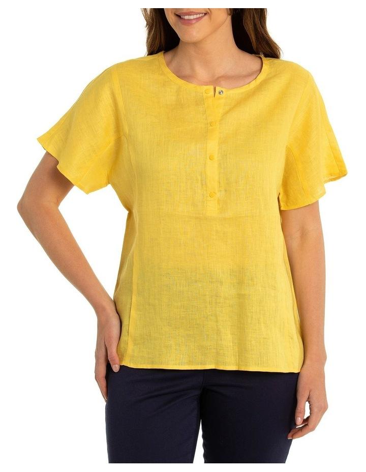 Short Sleeve Linen Panelled Shirt image 1