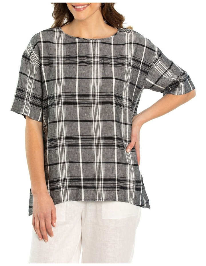 3/4 Sleeve Check Linen Overshirt image 1