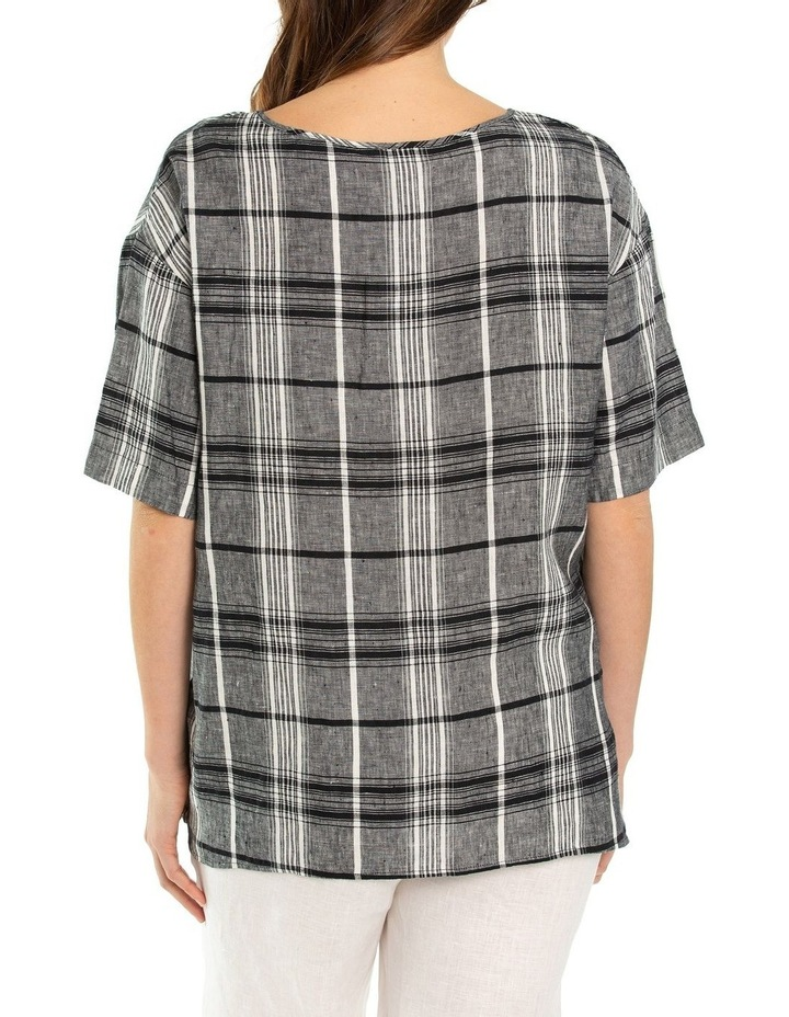 3/4 Sleeve Check Linen Overshirt image 2