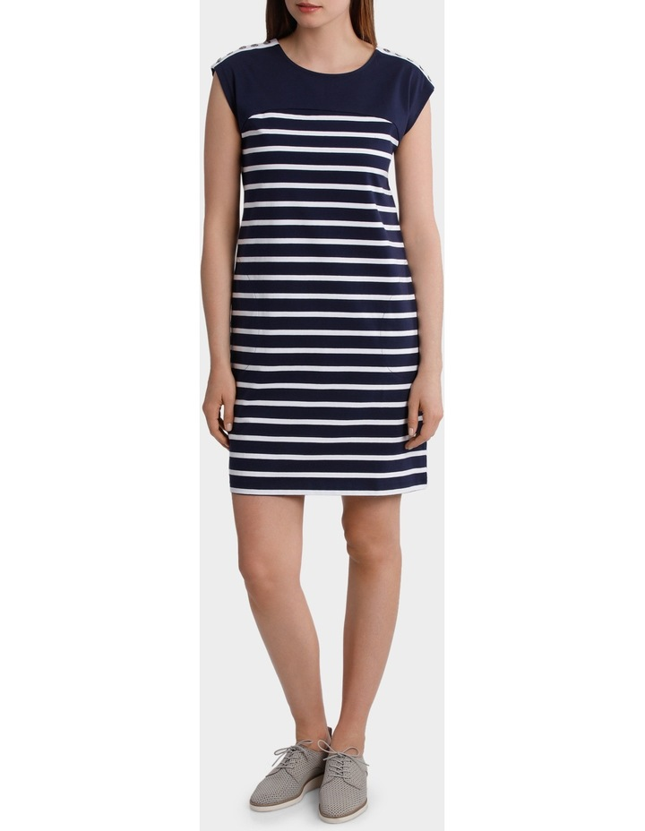 Button Trim Stripe Dress image 1