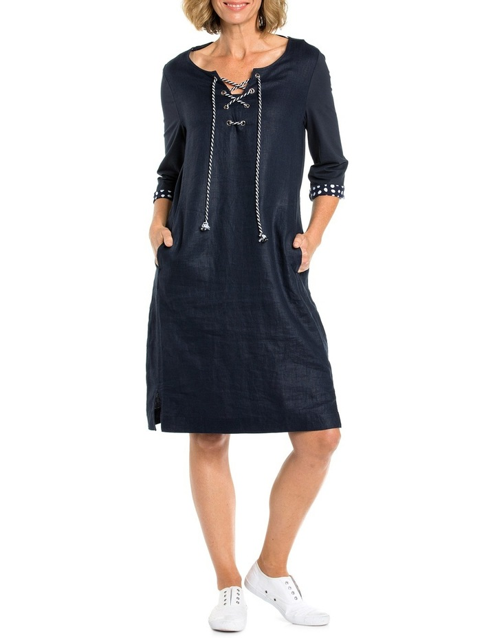 3/4 Sleeve Lace Up Front Dress image 1